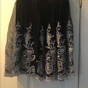 Alfani Embroidered Mesh Skirt
